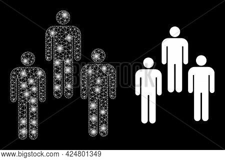 Glowing Mesh Network People With Glowing Spots. Illuminated Vector Model Created From People Icon Wi