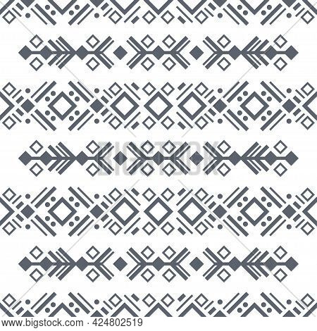 Navajo Black And White Seamless Patterns. Aztec Elements, Vector Design. Tribal Background In Boho S