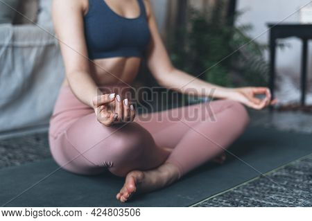 Wellness And Well-being Concept. Cropped View Of Sporty And Healthy Woman Practicing Yoga, Sitting I