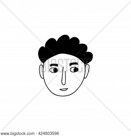 Hand Drawn Human Face Doodle. Young Guy. Isolated Ink Drawing With A Pen. Pencil Drawing. Simple Ill