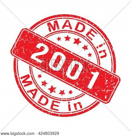 Imprint Of A Seal Or Stamp With The Inscription Made In 2001. Editable Vector Illustration. Label, S