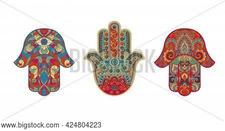 Set Of Traditional Oriental Or Indian Sacred Religious Symbols-amulets-hamsa, Miriam's Hand, David's