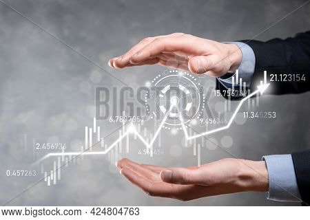Businessman In Hand Hold Banking Business Finance Graph And Invest In Stock Market Investment Point,