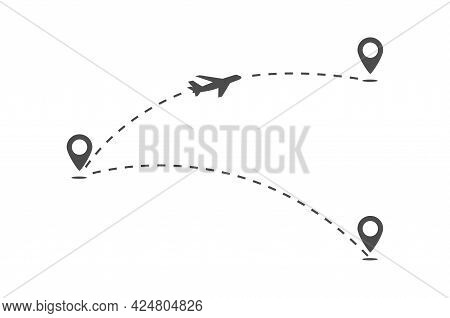 Trajectory Of The Flight Routes Of The Aircraft. The Plane Flies From One Point To Another. The Line