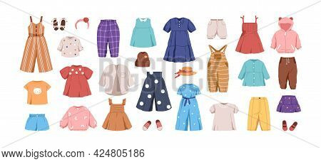 Set Of Kids Casual Clothes. Childs Garments For Summer. Apparel, Shoes And Accessories For Boys And