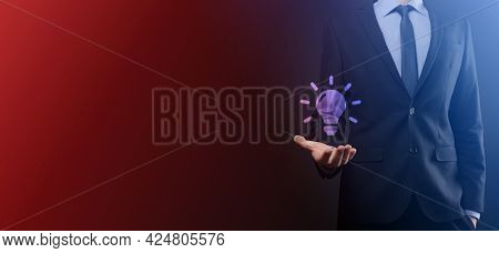Hand Holding Light Bulb. Smart Idea Icon Isolated. Innovation, Solution Icon. Energy Solutions. Powe