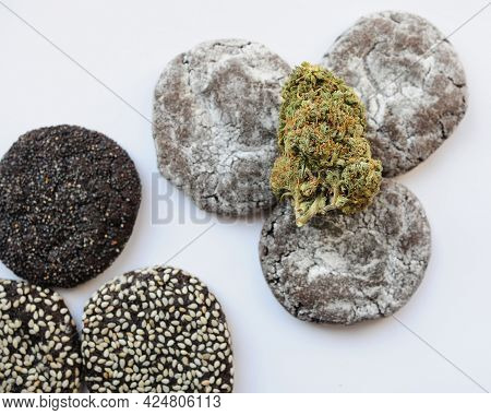 Marijuana Blooms And Sweets Isolated On White Background. Cannabis Flowers And Cookies Close Up. Hem