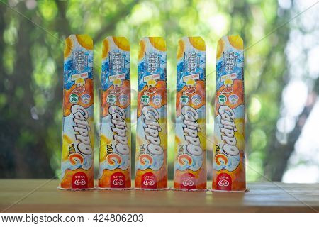 Samut Prakan, Thailand - June 25, 2021 : The New Wall's Calippo With Vitamin C. Wall's Calippo In Th
