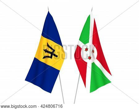 National Fabric Flags Of Barbados And Burundi Isolated On White Background. 3d Rendering Illustratio