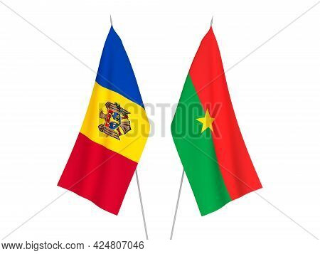 National Fabric Flags Of Burkina Faso And Moldova Isolated On White Background. 3d Rendering Illustr