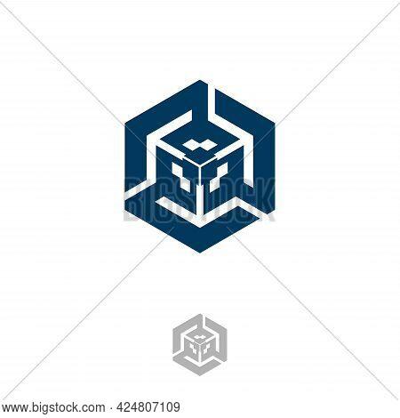 Abstract Rotate Hexagon Tech Vector Design. Flat Vector Symbol Design Illustration. Vector Illustrat