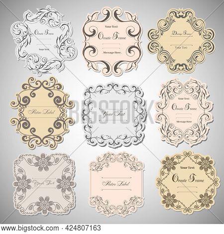 Vintage Labels Frames Art-deco Vector Image. Vector Damask Vintage Baroque Scroll Ornament Swirl. Vi