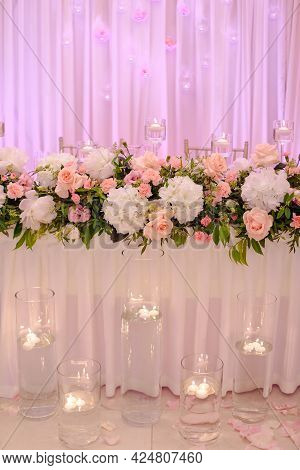 Luxury Wedding Floristry In Pink Tones. Concept Of Wedding Events. Important Events In Life. Celebra