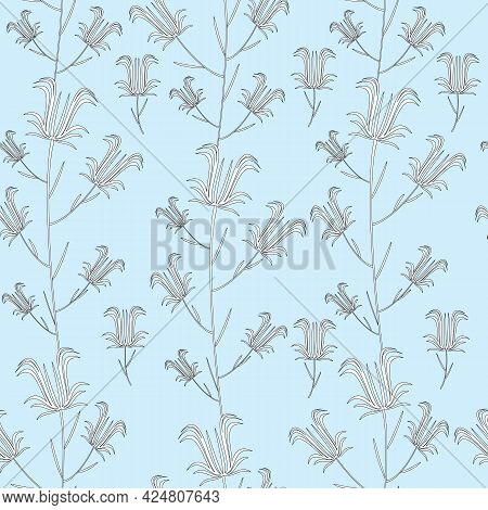 Black And White Sprigs Of Bell Flowers On A Blue Background. Floral Seamless Summer Pattern. For Wal