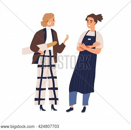 Small Talk Between Buyer And Seller. Woman With Fresh Baguette Chatting With Friendly Smiling Bakery