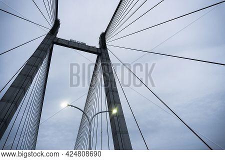 Cables Of 2nd Hoogly Bridge, Vidyasagar Setu At Blue Hour. Monsoon Stock Image.