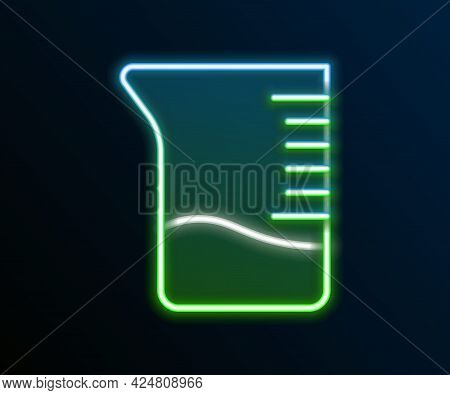 Glowing Neon Line Measuring Cup Icon Isolated On Black Background. Plastic Graduated Beaker With Han