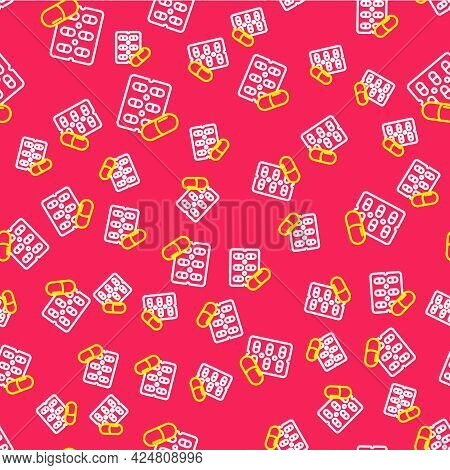 Line Pills In Blister Pack Icon Isolated Seamless Pattern On Red Background. Medical Drug Package Fo