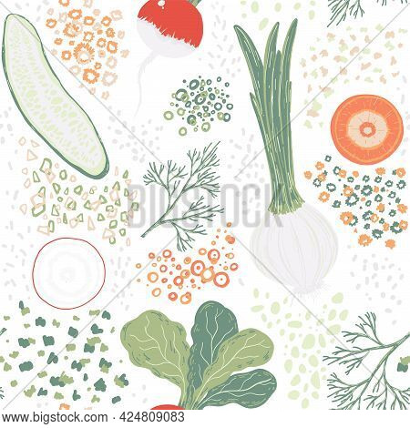 Hand Drawn Seamless Colorful Pattern With Different Vegetables: Radish, Onion, Dill, Cucumber