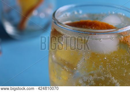 Step-by-step Instruction Of Making Lemonade. Step 3. Ready-made Fresh Lemonade With Water Ice And Fr