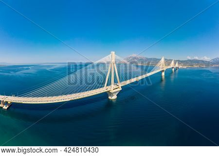 Panoramic Aerial View Bridge Rion-antirion. The Bridge Connecting The Cities Of Patras And Antirrio,