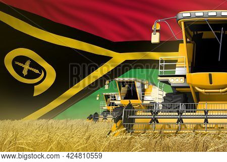 Industrial 3d Illustration Of Three Yellow Modern Combine Harvesters With Vanuatu Flag On Wheat Fiel
