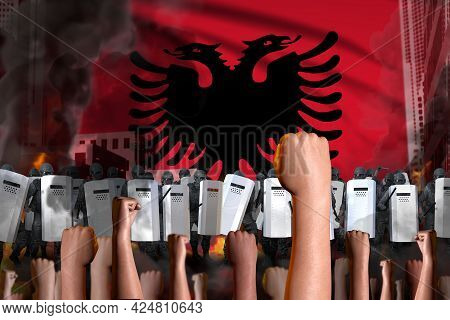 Revolt Stopping Concept - Protest In Albania On Flag Background, Police Swat Stand Against The Prote