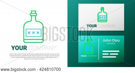 Line Alcohol Drink Rum Bottle Icon Isolated On White Background. Colorful Outline Concept. Vector
