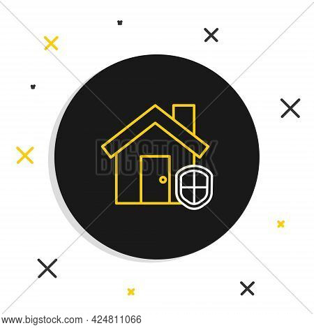 Line House Under Protection Icon Isolated On White Background. Home And Shield. Protection, Safety,