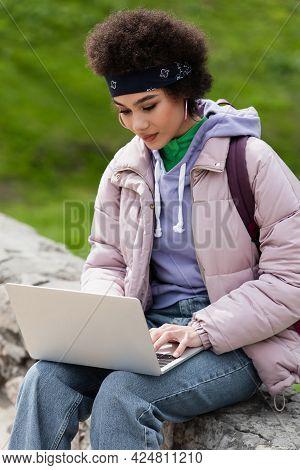 African American Teleworker Using Laptop On Parapet In Park