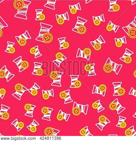 Line Sewing Thread On Spool And Button Icon Isolated Seamless Pattern On Red Background. Yarn Spool.