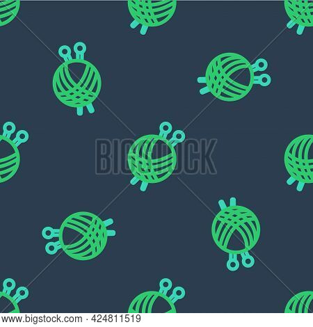 Line Yarn Ball With Knitting Needles Icon Isolated Seamless Pattern On Blue Background. Label For Ha
