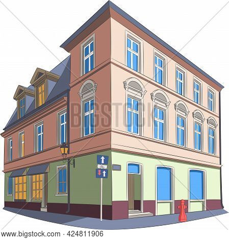Nice Old Three-storey House With A Shop On The First Level.