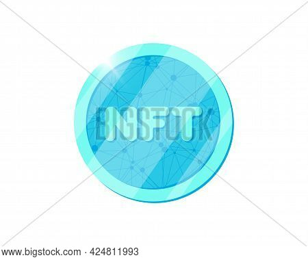 Nft Non Fungible Light Blue Token. Online Money For Buy Exclusive Art. Pay For Unique Collectibles I