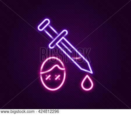 Glowing Neon Line Sword With Blood Icon Isolated On Black Background. Medieval Weapons Knight And So