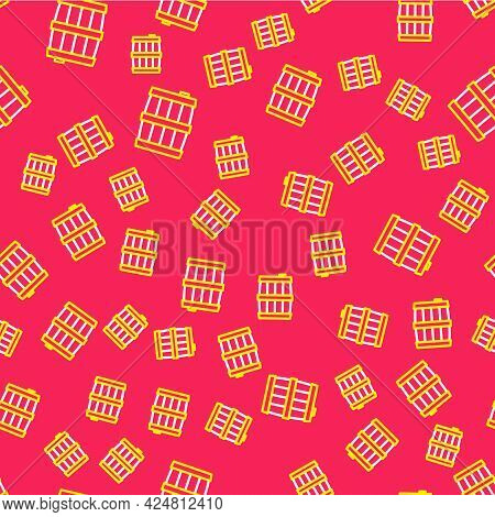 Line Wooden Barrel Icon Isolated Seamless Pattern On Red Background. Alcohol Barrel, Drink Container