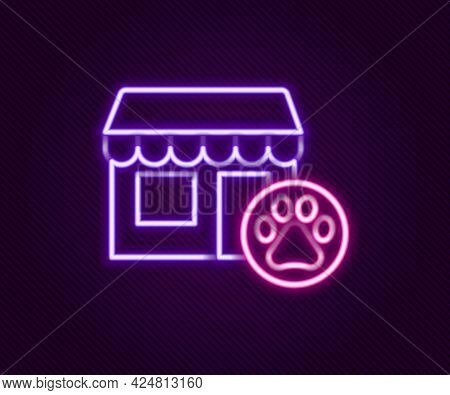 Glowing Neon Line Veterinary Medicine Hospital, Clinic Or Pet Shop For Animals Icon Isolated On Blac