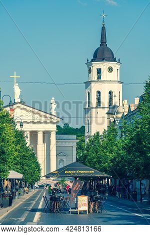 Vilnius, Lithuania - June 22 2022: Reopening Bars And Restaurants After Lockdown Due To Covid Or Cor
