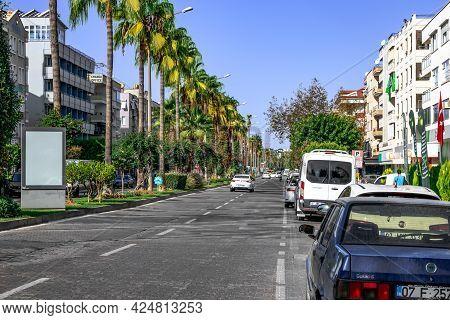 Alanya, Turkey - October 23, 2020: Summer-autumn View Of Ataturk Boulevard In Alanya. Transport Driv