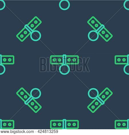 Line Collar With Name Tag Icon Isolated Seamless Pattern On Blue Background. Simple Supplies For Dom