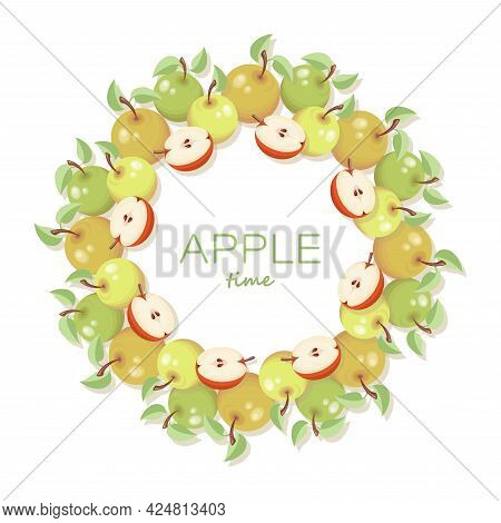 Apples Delicious Sweet Fruit. Vector Frame. Design With Apple And Leaf. Colored Frame Of Apples.