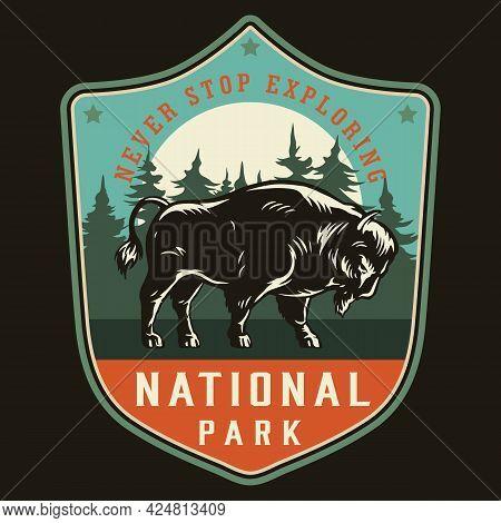 National Park Vintage Colorful Label With Powerful Bison On Forest Landscape Isolated Vector Illustr
