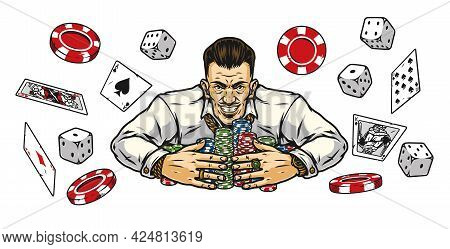 Gambling Elements Vintage Colorful Concept With Smiling Lucky Gambler With Casino Chips Stacks Playi