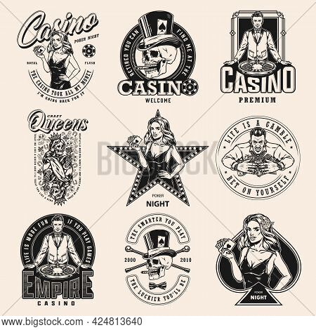 Gambling And Casino Vintage Emblems With Attractive Poker Ladies Skull Smoking Cigar In Top Hat Crou