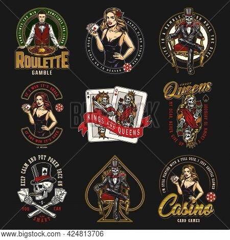 Casino And Gambling Vintage Colorful Badges With Gambler Skull And Skeleton Attractive Poker Ladies