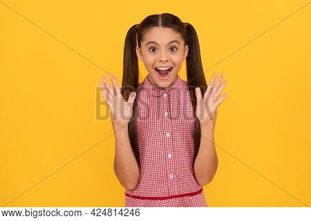 Pleasantly Surprised Happy Kid Keep Mouth Open Yellow Background, Surprise