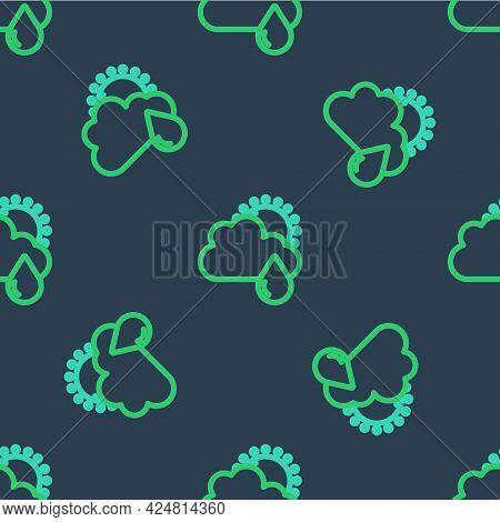 Line Cloud With Rain And Sun Icon Isolated Seamless Pattern On Blue Background. Rain Cloud Precipita