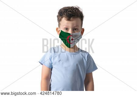 Respirator With Flag Of Algeria. White Boy Puts On Medical Face Mask Isolated On White Background.