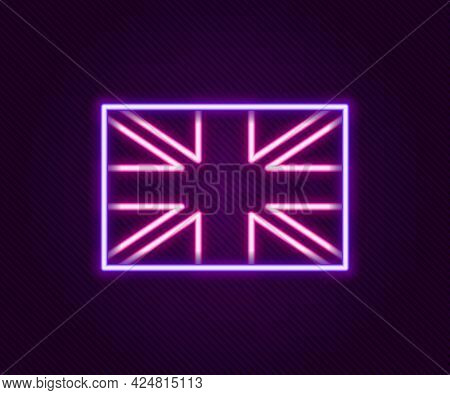 Glowing Neon Line Flag Of Great Britain Icon Isolated On Black Background. Uk Flag Sign. Official Un