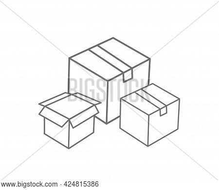 Cardboard Box Line Icon And Carton Packaging Box Isolated On A White Background. Closed Box. Design